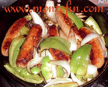 montefin's Italian Sausage, Peppers, Onions