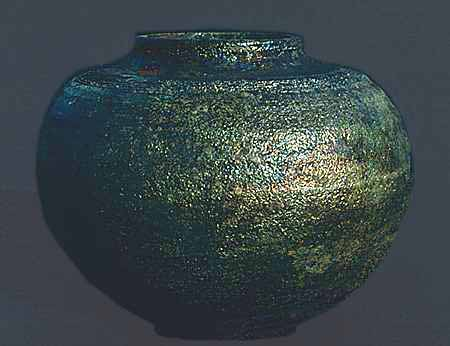 Large raku jar with metallic lustre.