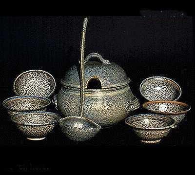 Huge Salt Glaze Ceramic Pottery Soup Tureen, Lid, Ladle, and Bowls set.