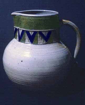 Old English style stoneware pitcher.