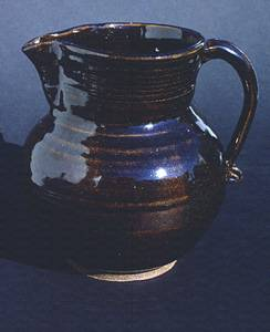 Pitcher with Tenmoku glaze
